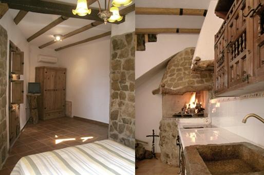 chimenea y habitación en casa rural en castellon alba